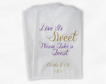 Love Is Sweet Take a Treat Personalized Wedding Candy Buffet Treat Bags - Favor Bags in Purple and Gold - Custom Paper Bags (0101)