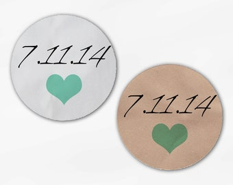 Wedding Date and Heart Wedding Favor Stickers - Mint Custom White Or Kraft Round Labels for Bag Seals, Envelopes, Mason Jars (2005)