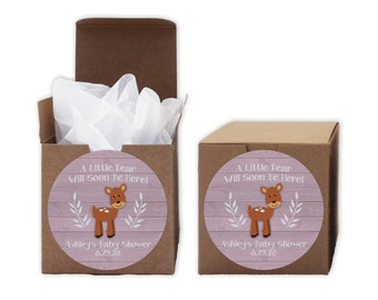A Little Deer Baby Shower Favor Boxes in Light Pink - Set of 12 Personalized Treat Containers with Round Stickers - Kraft Boxes