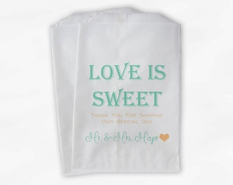 Love Is Sweet Wedding Candy Buffet Treat Bags - Mr and Mrs Personalized Favor Bags in Mint and Peach - Custom Paper Bags (0069)