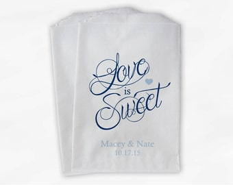 Love Is Sweet Calligraphy Wedding Candy Buffet Treat Bags - Personalized Favor Bags in Navy and Light Blue - Custom Paper Bags (0122)