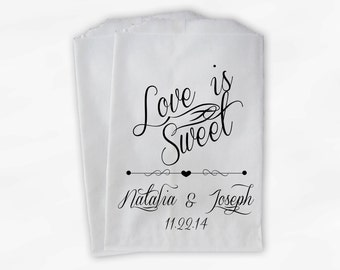 Love Is Sweet Script Personalized Wedding Candy Buffet Treat Bags - Favor Bags in Black and White - Custom Paper Bags (0097)