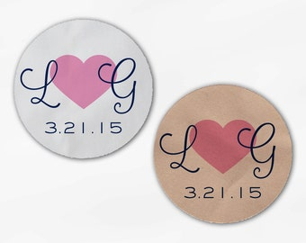 Initials and Heart Wedding Favor Stickers - Pink and Navy Custom Candy Buffet White, Kraft Round Labels for Bag Seals, Envelopes (2021)