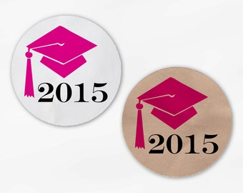 Graduation Cap Favor Stickers in Hot Pink - Custom White Or Kraft Round Labels for Bag Seals, Envelopes, Mason Jars (2012)