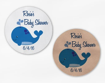 Whale Baby Shower Stickers - Personalized Navy Blue Custom White Or Kraft Round Labels for Bag Seals, Envelopes, Mason Jars (2036)