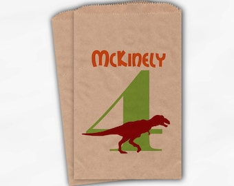 Dinosaur Birthday Party Candy Favor Bags with T Rex - Red Orange and Lime Boys Custom Treat Bags for Kids - 25 Brown Paper Bags (0046)