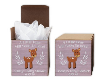A Little Deer Baby Shower Favor Boxes in Light Pink - Set of 12 Personalized Treat Containers with Stickers for Favors, Gifts - Kraft Boxes