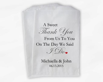 Sweet Thank You Wedding Candy Buffet Treat Bags - Charcoal Gray and Red Personalized Favor Bags with Couple's Names and Wedding Date (0054)