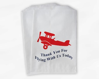 Airplane Party Candy Favor Bags - Custom Treat Bags for Kids - 25 Paper Bags (0018)