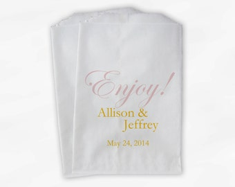 Enjoy Wedding Candy Buffet Treat Bags - Pink and Gold Personalized Favor Bags with Names and Date - Custom Paper Bags (0026-10)