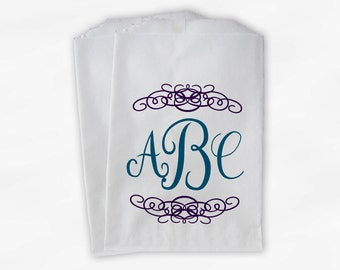 Monogrammed Candy Buffet Bags - Peacock, Purple Custom Favor Bags Personalized with Couple's Initials - Paper Treat Bags (0038)