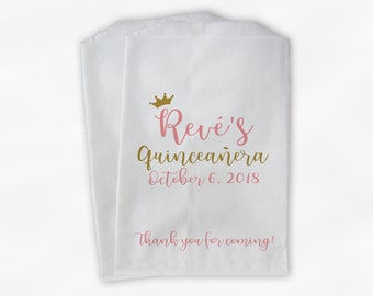 Quinceanera Birthday Personalized Candy Buffet Bags with Crown - Coral Pink and Gold Thank You Custom Favor Bags - 25 Paper Treat Bags