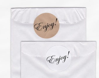 Enjoy Wedding Favor Stickers - Custom Candy Buffet White Or Kraft Round Labels for Bag Seals, Envelopes, Mason Jars (2008)