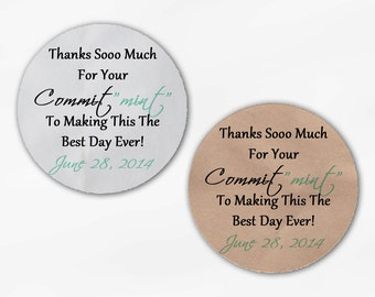"""Commit """"Mint"""" Wedding Favor Stickers - Custom Thank You Commitment Candy Buffet White Or Kraft Round Labels for Bag Seals, Envelopes (2014)"""