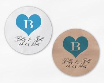 Heart Monogram Wedding Favor Stickers in Turquoise - Custom White Or Kraft Round Labels for Bag Seals, Envelopes, Mason Jars (2034)