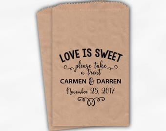 Love Is Sweet Please Take a Treat Personalized Wedding Candy Buffet Treat Bags - Favor Bags in Black - Set of 25 Kraft Paper Bags (0202)