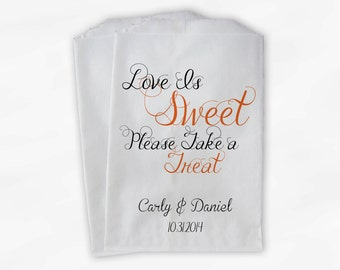 Love Is Sweet Please Take a Treat Personalized Wedding Candy Buffet Treat Bags - Favor Bags in Orange and Black - Custom Paper Bags (0101)