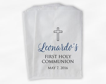First Communion Favor Bags - Baptism or Religious Party Custom Favor Bags - Set of 25 Navy Blue and Black Paper Treat Bags (0186)