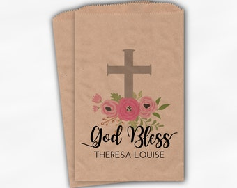 God Bless Flower Favor Bags - First Communion, Baptism or Religious Party Custom Favor Bags - Set of 25 Pink and Gray Kraft Paper Treat Bags