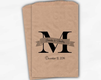 Monogram and Banner Candy Buffet Bags in Black on Kraft Paper - Personalized Initial Custom Favor Bags - Paper Treat Bags (0115)