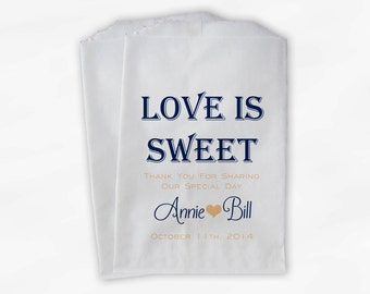 Love Is Sweet Wedding Candy Buffet Treat Bags - Personalized Favor Bags in Navy and Peach - Custom Paper Bags (0069)