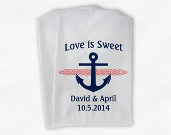 Nautical Anchor Wedding Favor Bags - Love Is Sweet Personalized Navy Blue and Coral Custom Treat Bags for Candy Buffet - Paper Bags (0047-5)