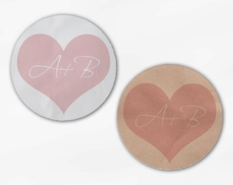 Initials in Heart Wedding Favor Stickers - Blush Pink Custom White Or Kraft Round Labels for Bag Seals, Envelopes, Mason Jars (2006)