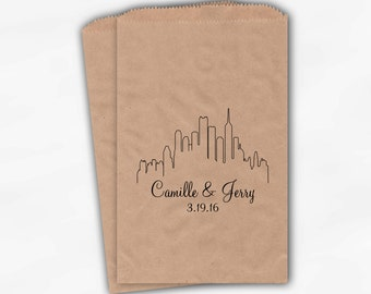 City Skyline Candy Treat Bags in Black - Personalized Favor Bags for Wedding, Birthday, Shower - Kraft Paper Bags (0159)