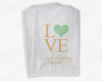 Personalized Candy Buffet Bags - Love and Hearts Custom Favor Bags for Wedding in Light Green and Peach - Paper Treat Bags (0065)