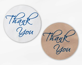 Thank You Script Wedding Favor Stickers in Blue - Custom White Or Kraft Round Labels for Bag Seals, Envelopes, Mason Jars (2025)