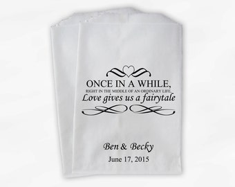 Wedding Favor Bags for Candy Buffet - Love Gives Us A Fairytale Personalized Paper Treat Bags (0092)
