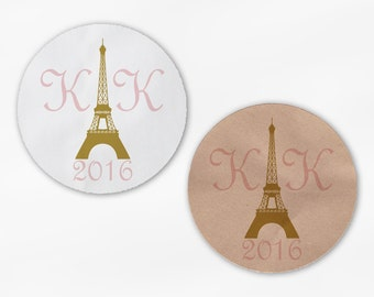 Eiffel Tower Wedding Favor Stickers - French Initials Pink and Gold Round Labels for Bag Seals, Envelopes, Mason Jars (2039)