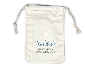 First Communion Cross Cotton Favor Bags for Baptism, Religious Ceremony in Black and Blue - Ivory Fabric Drawstring Bags - Set of 12 (1025)
