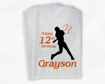 Birthday Party Candy Buffet Bags - Baseball Custom Favor Bags in Black and Orange - 25 Paper Treat Bags (0080)