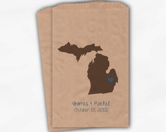 Michigan Home State Wedding Candy Buffet Treat Bags - Kraft Paper Favor Bags in Brown & Blue with Names and Date - Custom Paper Bags (0121)