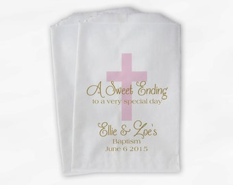 First Communion Favor Bags - Baptism or Religious Party Custom Favor Bags - Set of 25 Pink and Gold Paper Treat Bags (0073)