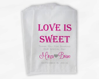 Love Is Sweet Wedding Candy Buffet Treat Bags - Personalized Favor Bags in Hot Pink and Gray - Custom Paper Bags (0069)