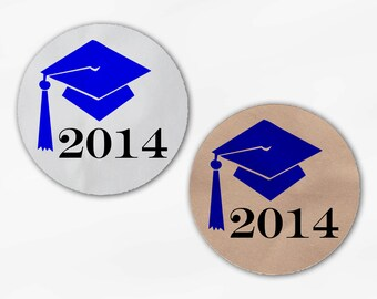 2018 Graduation Cap Favor Stickers - Royal Blue Custom White Or Kraft Round Labels for Bag Seals, Envelopes, Mason Jars (2012)
