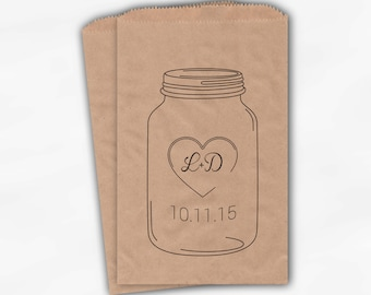 Mason Jar Initials in Heart Wedding Candy Buffet Treat Bags - Black Favor Bags with Monogram and Date - Custom Kraft Paper Bags (0100)