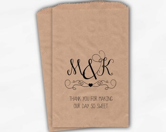 Day So Sweet Initials Candy Buffet Bags in Black - Personalized Favor Bags for Wedding, Bridal Shower - Kraft Paper Treat Bags (0173)