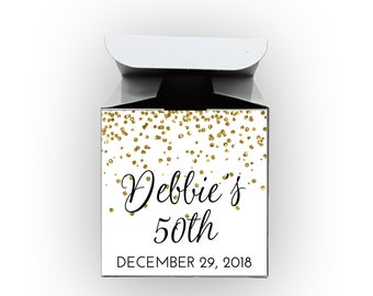 Glitter Confetti Birthday Party Favor Boxes - Set of 12 Personalized Treat Containers with Stickers for Party Favors - White Tuck Top Boxes