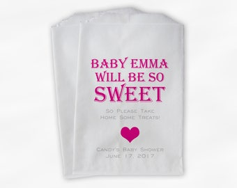 Baby Is Sweet Candy Buffet Treat Bags - Personalized Baby Shower Favor Bags in Hot Pink - 25 Custom Paper Bags (0148)