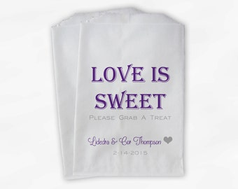 Love Is Sweet Grab a Treat Wedding Candy Buffet Treat Bags - Personalized Favor Bags in Purple and Gray - Custom Paper Bags (0078)