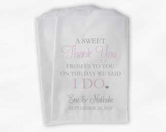 Wedding Candy Buffet Treat Bags - A Sweet Thank You Baby Pink and Gray Personalized Favor Bags with Bride and Groom's Names and Date (0085)