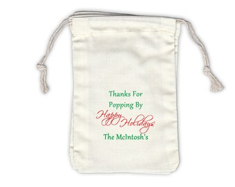 Thanks for Poppin By Happy Holidays Cotton Favor Bags in Green and Red - Ivory Fabric Drawstring Bags - Set of 12 (1033)