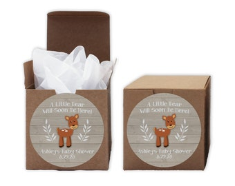A Little Deer Baby Shower Favor Boxes in Light Ivory - Set of 12 Personalized Treat Containers with Round Stickers - Kraft Boxes