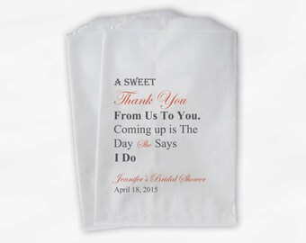 Sweet Thank You Bridal Shower Candy Buffet Treat Bags - Coral and Gray Personalized Favor Bags with Bride's Name and Date - Set of 25 (0071)