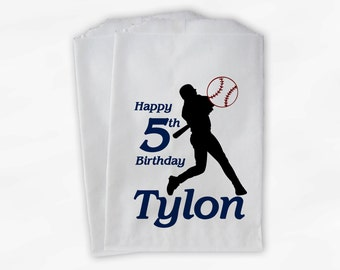 Birthday Party Candy Buffet Bags - Baseball Custom Favor Bags in Navy Blue and Red - 25 Paper Treat Bags (0080)