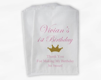 Birthday Party Candy Buffet Treat Bags - Pink and Gold Crown Princess Favor Bags - Set of 25 Girls Birthday Custom Paper Bags (0149)