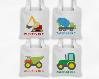 Construction Vehicles Mini Tote Personalized Party Favor Bags - Set of 4 Custom Gift Bags - Reusable Tote Bags with Cement Truck, Excavator